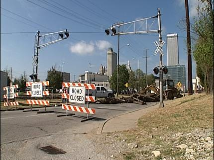 Railroad Replacement Project Closes Downtown Tulsa Street