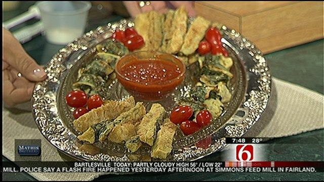 Oven-Fried Zucchini Sticks & Spinach-&-Brie-Topped Artichoke Hearts
