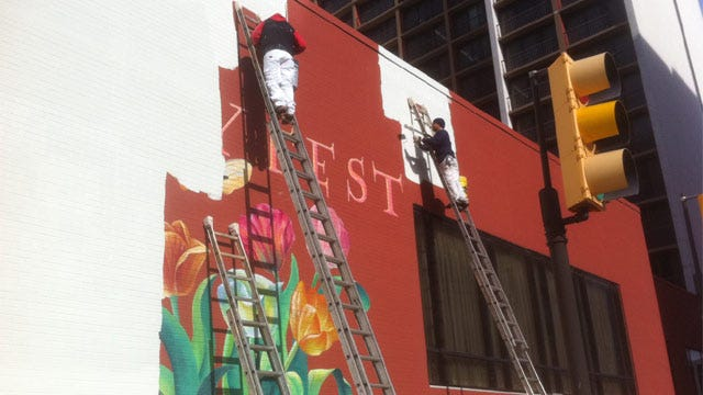 Downtown Tulsa Mayfest Mural Painted Over