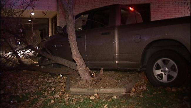 Tree Stops Pickup Truck From Striking Tulsa Church