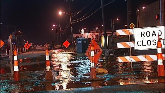 Tulsa Water Line Break Creates Mess