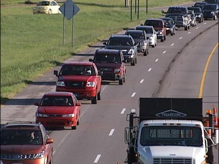 Truck Damages Sign Over Tulsa Highway