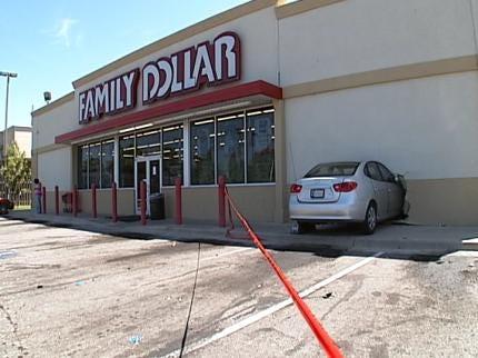 Driver Crashes Into North Tulsa Family Dollar Store