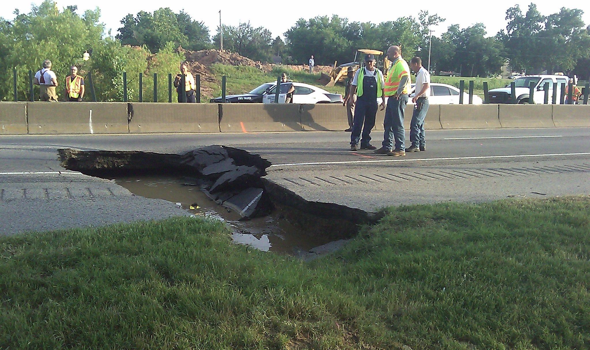 Sinkhole Swallows Part Of Tulsa Interstate
