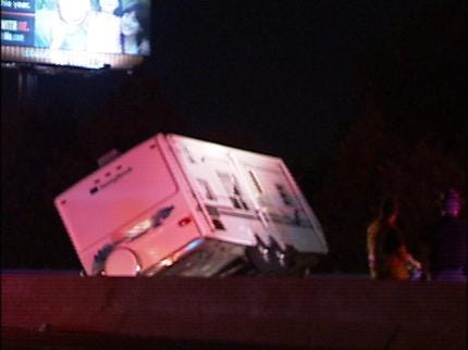 Jackknifed Trailer, Wreck Closed Turner Turnpike for Over An Hour