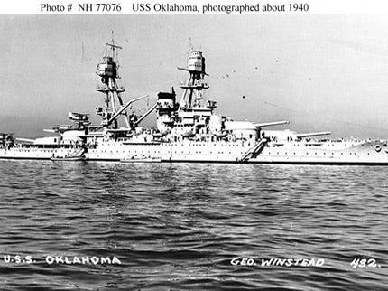 Mast Of World War II Battleship USS Oklahoma Arrives In Muskogee