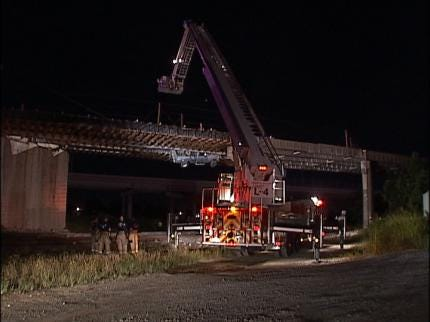 Truck Left Dangling Off Bridge After Tulsa Driver Ignores Barricades