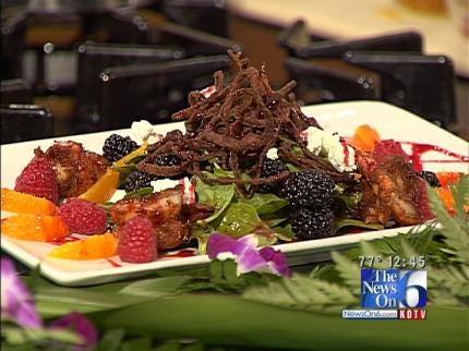 Summer Spinach Salad With BBQ Shrimp And Raspberry Orange Vinaigrette