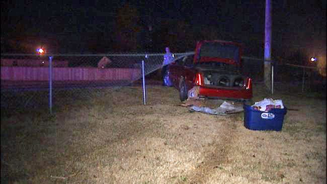 Occupants Flee After Car Crashes Through 2 Backyards Of Tulsa Homes