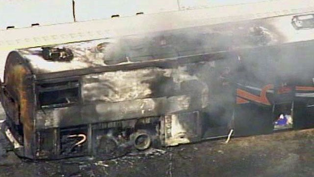 Tulsa Oilers Bus Catches Fire On Will Rogers Turnpike; Sparks Grass Fire