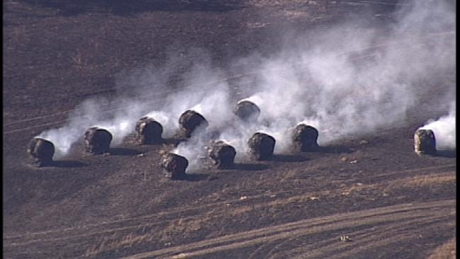 Crews Battle Two Creek County Fires Burning Home, Brush