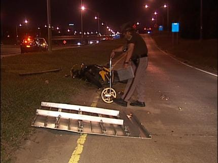 Motorcyclist Injured After Missing Tulsa Highway Exit Ramp