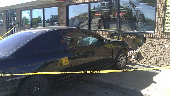 Driver Applies Gas Instead Of The Brake In Oologah