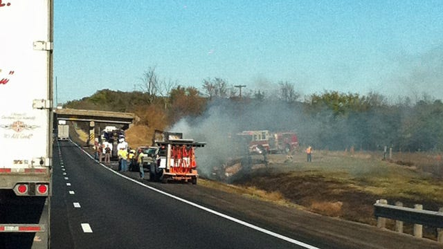 Turner Turnpike Truck Fire Stops Traffic For Short Time Between Bristow And Kellyville