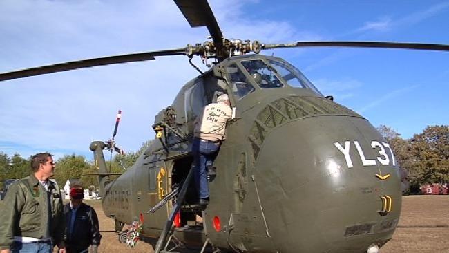 Vietnam Era Chopper Lands At Tulsa School