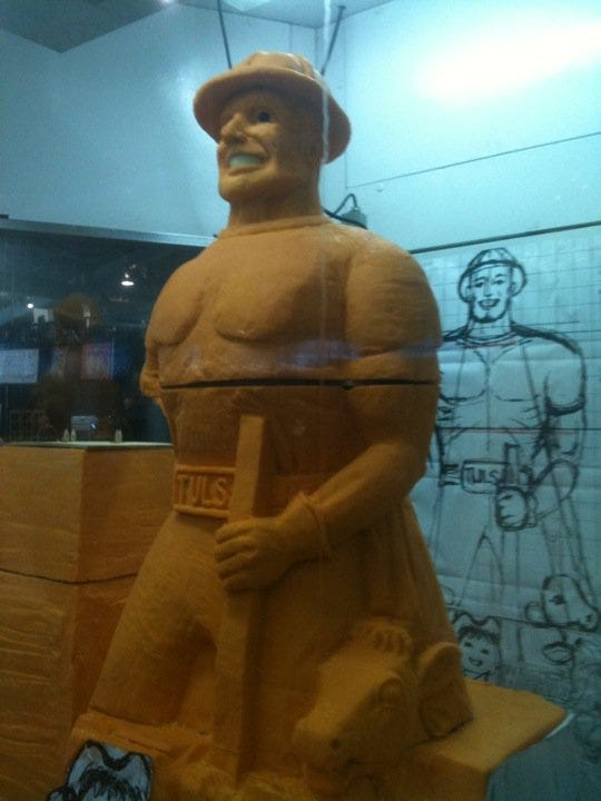 Cheesy Golden Driller Sculpture Carved At Tulsa State Fair
