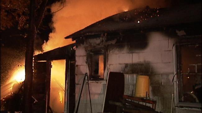 Tulsa Firefighters Battle Blaze In Mechanic's Garage