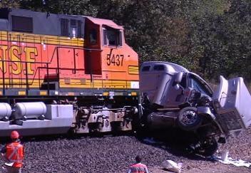 No Injuries After Train Engine Slams Into Semi At Catoosa Crossing