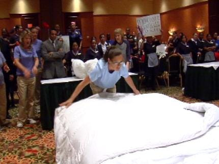 Tulsa Housekeepers Face Off In Bedmaking Battle