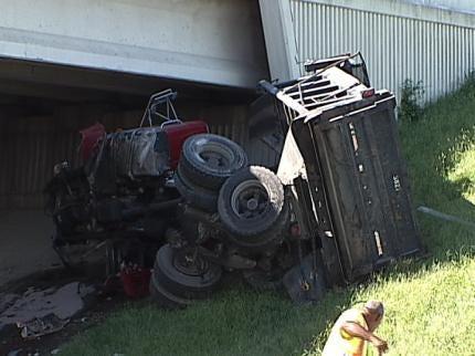 71st Street In Tulsa Reopened After Dump Truck Veers Off Highway 169