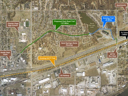 City of Sand Springs Seeks Funding For Proposed Park Road Trail