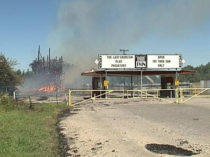 Fire Destroys Screens At Tulsa's Admiral Twin Drive-In