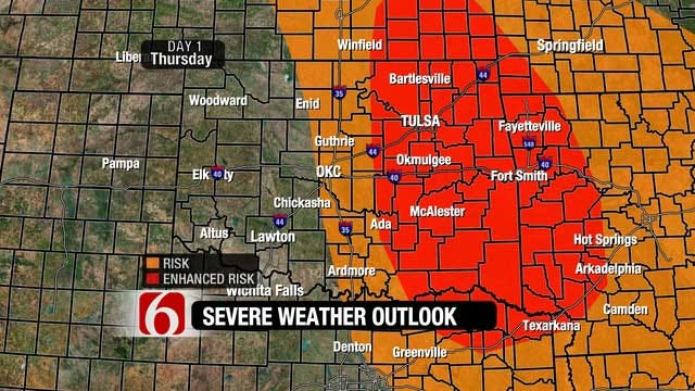 Large Hail And Tornadoes Could Hit Eastern Oklahoma Thursday