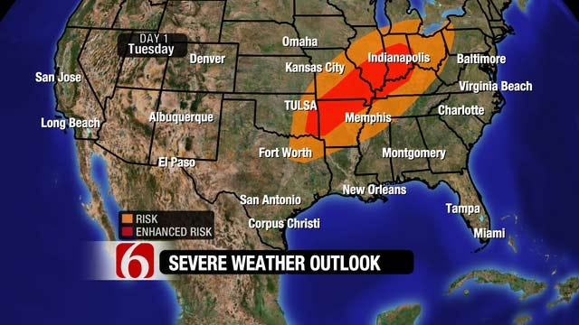 Large Hail Threat Possible For Far Eastern Oklahoma