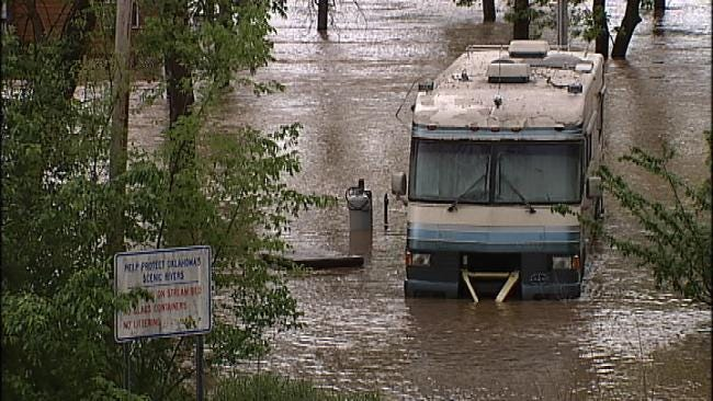 Flood Waters Swallow Campgrounds Along The Illinois River