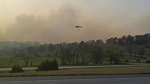 Residents Flee As Wildfire Burns Homes Near Cleveland, Oklahoma