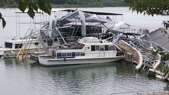 Wind Damages Barnacle Bill's Marina And Boats On Lake Tenkiller