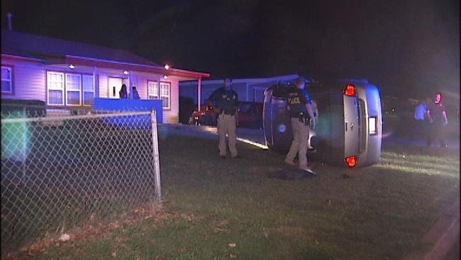 Driver Fleeing Gunshots Wrecks In Front Yard Of Tulsa Resident