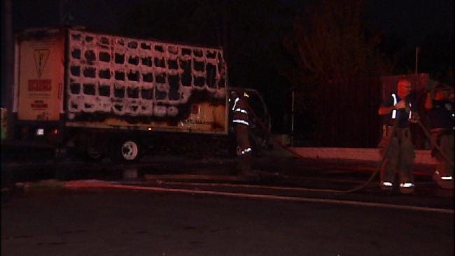 Tulsa Restaurant Delivery Truck Destroyed In Early Morning Fire