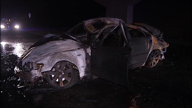 Male Driver Killed In Fiery Tulsa Wreck