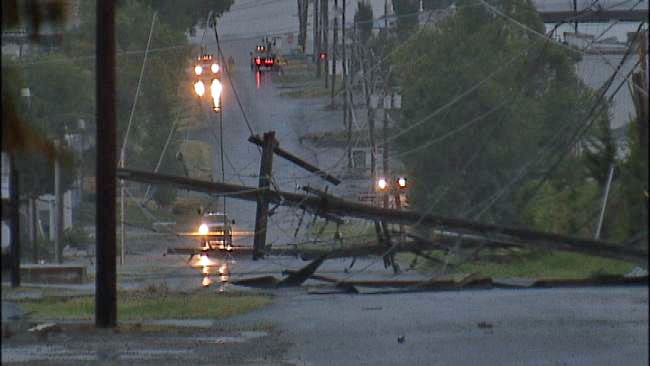 Downed Power lines, Power Outages Reported After Storm Hits Tulsa