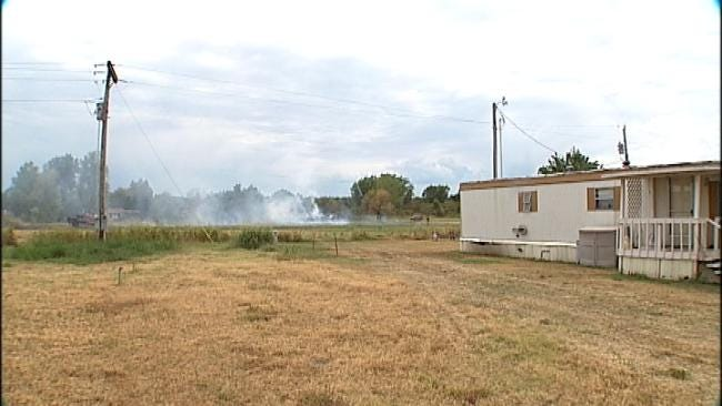 Sand Springs Fire Crews Douse Intentionally Set Hay Bale Fire