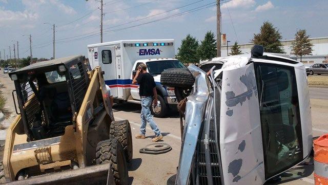 Tulsa Driver Arrested After Pickup Truck Hits Bobcat Front End Loader