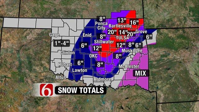 Blizzard Brings Record Snowfall To Tulsa