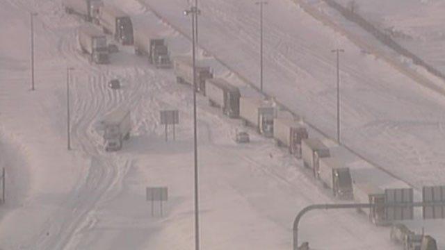 Snow Storm Turns I-44 Near Catoosa Into Parking Lot