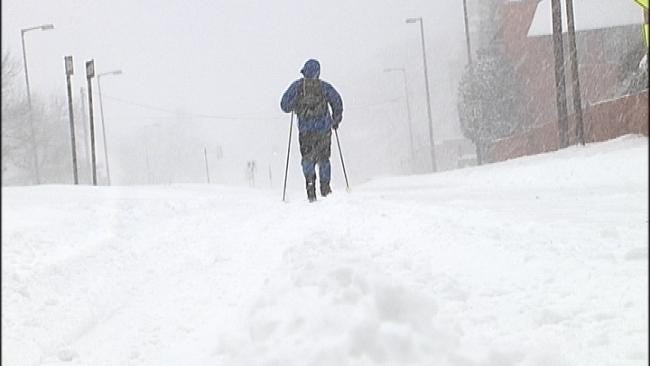 Tulsa Man Uses Skis To Get To Work During Snow Storm