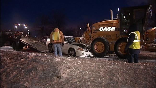 Car Strikes Road Grader On Tulsa Street