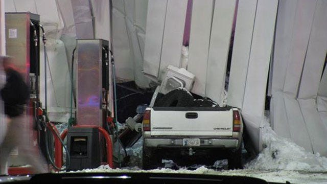 Roof Collapses On Cars At Pryor Kum & Go