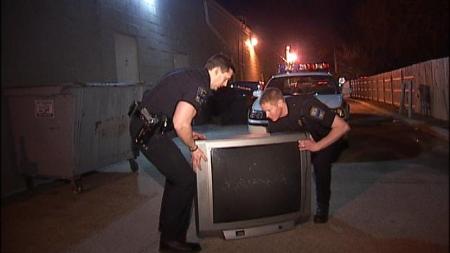 Mystery TV Shows Up In Alley Behind Tulsa Business