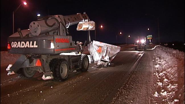 Dump Truck Loses Its Spreader Equipment On A Tulsa Bridge Early Thursday