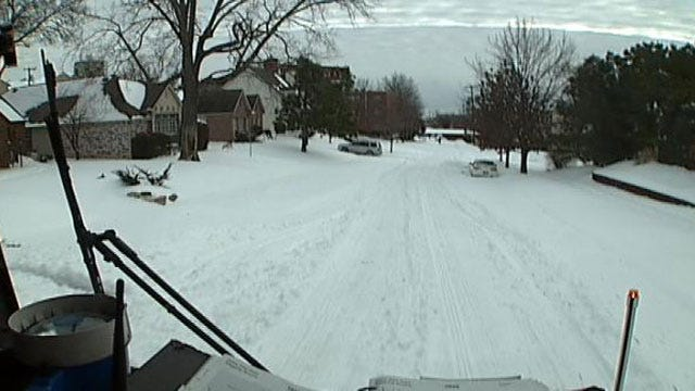 Tulsa Fire Engines Smashing Down Snow On Residential Streets