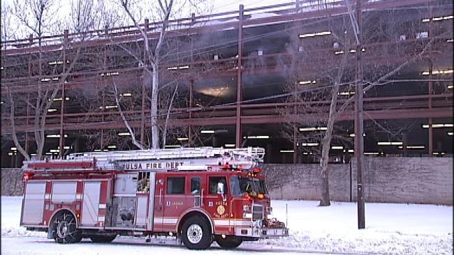 Pickup Truck Fire In Tulsa's OSU Medical Center's Parking Garage Extinguished