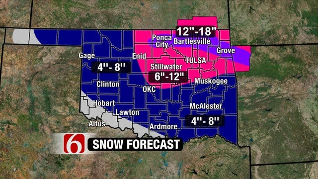 Winter Storm Dumps More Than A Foot Of Snow In Parts Of NE Oklahoma