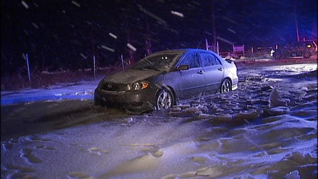 Driver Not Hurt When He Drives Into Ditch In Tulsa County