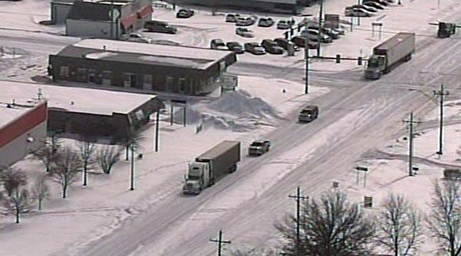 SkyNews6 Flies Over Snowbound Oklahoma Towns