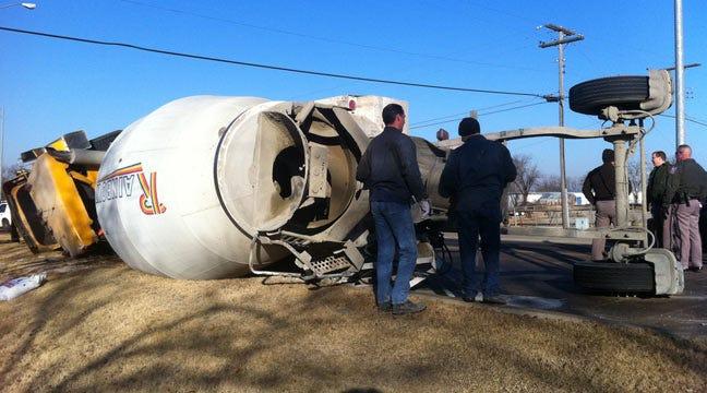 Concrete Truck Rolls Over On I-44 In Sapulpa